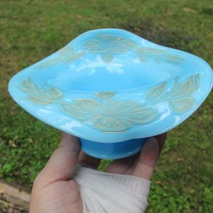 Antique Fenton Persian Blue Enameled Flower Milk Glass JIP Bowl Hat