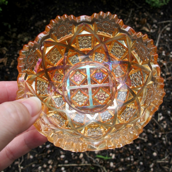 Antique Westmoreland Marigold Checkerboard Carnival Glass Bowl
