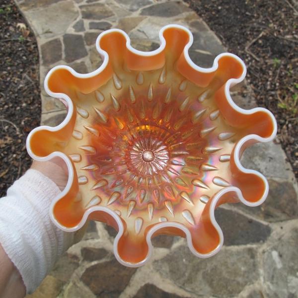 Antique Dugan Peach Opal Raindrops Carnival Glass Tight Deep Bowl