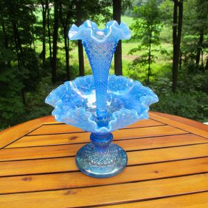 Fenton Diamond Lace Blue Opal Carnival Glass Single Vase Epergne