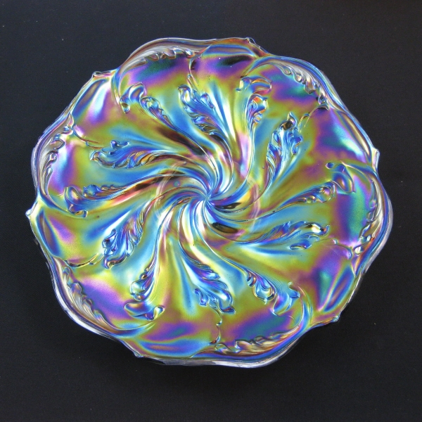 Antique Imperial Smoke Acanthus Carnival Glass Plate