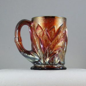 Imperial Red Acanthus (Leaf) Carnival Glass Tankard Mug