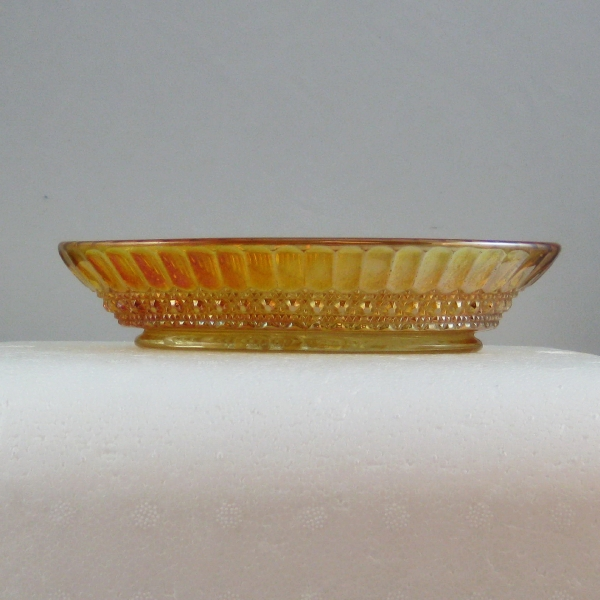 Antique Imperial Marigold Flute & Cane Carnival Glass Oval Relish Dish