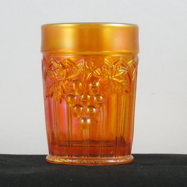 Antique Northwood Pumpkin Marigold Grape & Gothic Arches Carnival Glass Tumbler