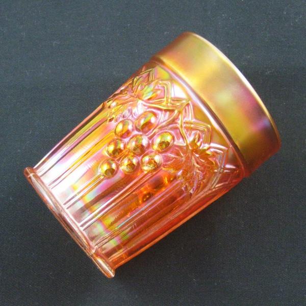 Antique Northwood Pumpkin Marigold Grape & Gothic Arches Carnival Glass Tumbler