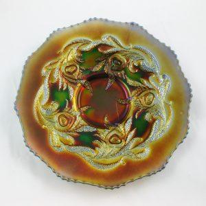 Antique Fenton Blue Heart & Vine Variant Carnival Glass Plate