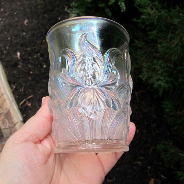Antique Dugan White Heavy Iris Carnival Glass Tumbler
