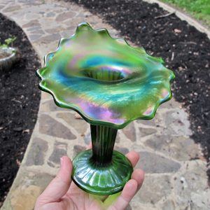 Antique Northwood Footed Fine Rib Green Carnival Glass JIP Vase