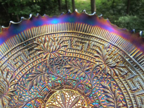 Antique Northwood Blue Embroidered Mums Carnival Glass Bowl