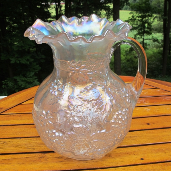 Antique Dugan White Floral & Grape Carnival Glass Paneled Water Pitcher