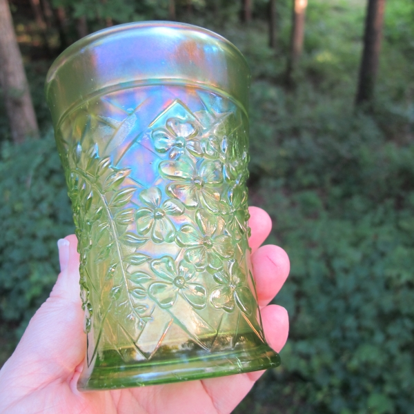 Antique Northwood Wisteria Lime Green Carnival Glass Tumbler