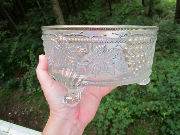 Antique Northwood White Grape & Cable Carnival Glass Fernery Bowl