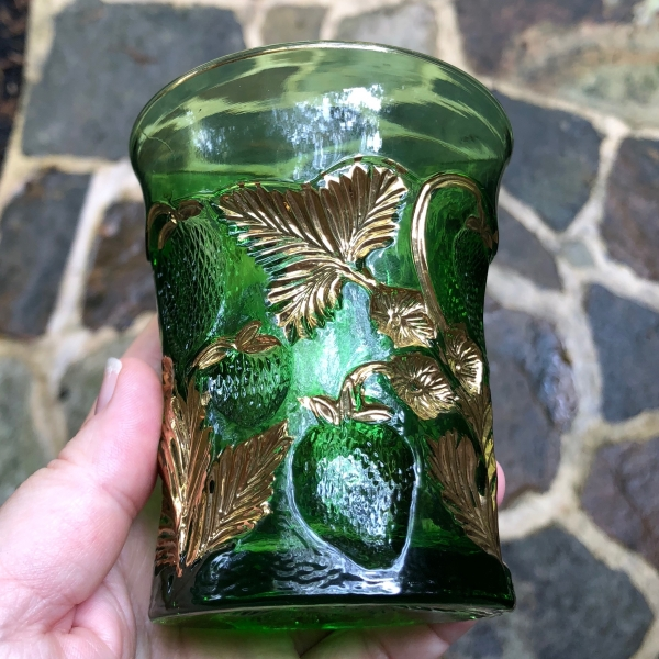 Antique Cambridge Green Gold Gilt Inverted Strawberry Glass Tumbler EAPG Near Cut