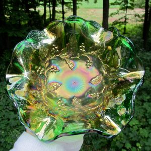Antique Millersburg Green Holly Sprig Carnival Glass Bowl