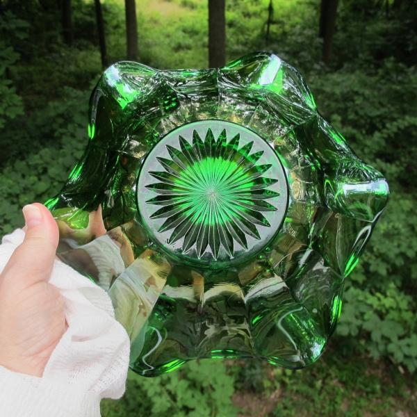 Antique Millersburg Green Holly Sprig Carnival Glass Bowl