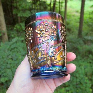 Antique Fenton Blue Orange Tree Scroll Carnival Glass Tumbler