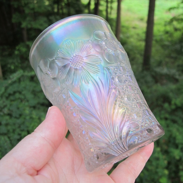 Antique U.S. Glass White Cosmos & Cane Carnival Glass Tumbler
