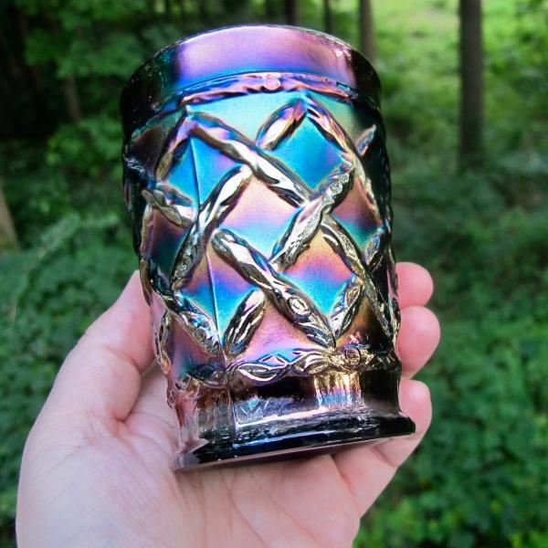 Antique Dugan Electric Amethyst Grapevine Lattice Carnival Glass Tumbler