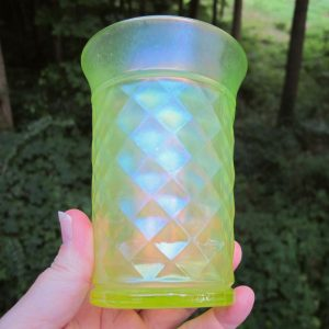 Antique Northwood Vaseline Concave Diamonds Carnival Glass Tumbler