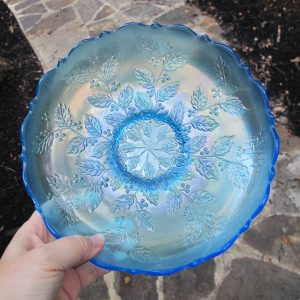 Antique Fenton Holly Celeste Blue Carnival Glass ICS Bowl