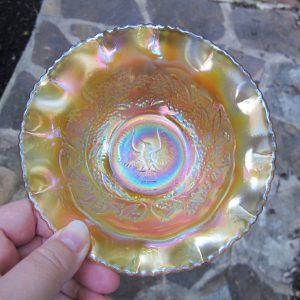 Antique Crown Crystal Shrike Thunderbird Carnival Glass Bowl (Australian)