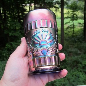 Antique Dugan Blue God & Home Carnival Glass Tumbler