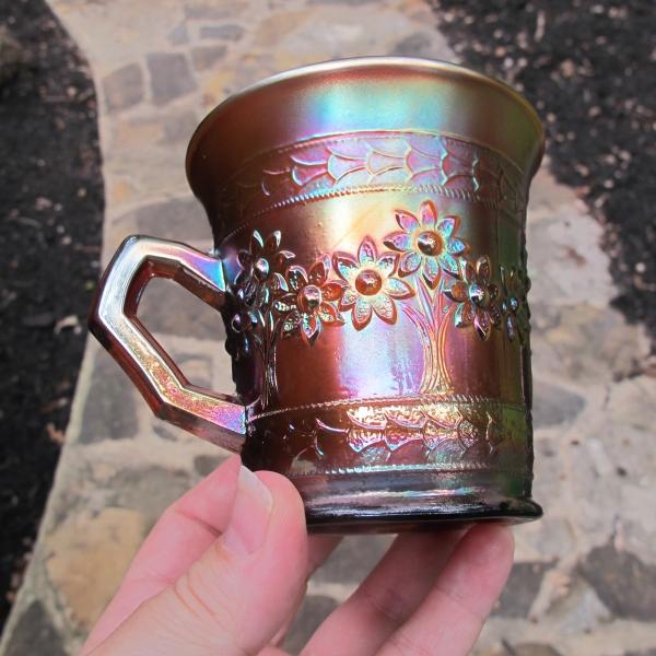 Antique Fenton Amethyst Orange Tree Carnival Glass Mug