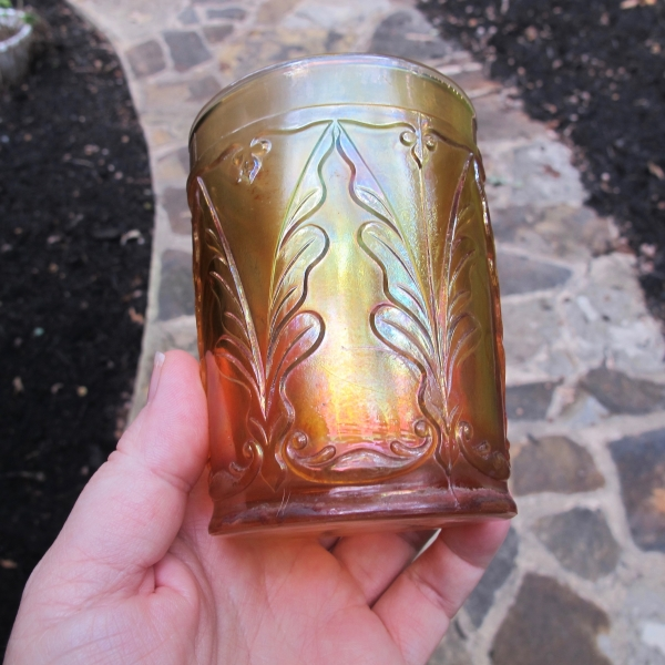 Antique Dugan Marigold Quill Carnival Glass Tumbler