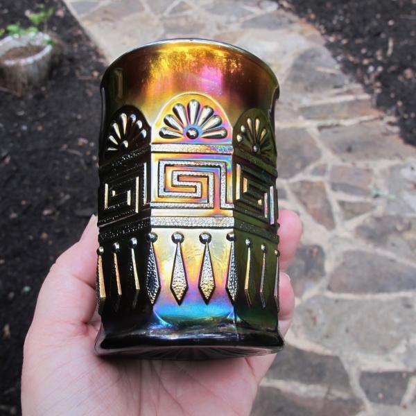 Antique Northwood Amethyst Greek Key Carnival Glass Tumbler