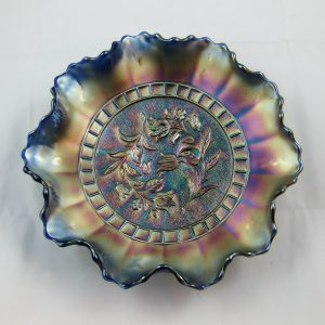 Antique Dugan Blue Windflower Carnival Glass Bowl