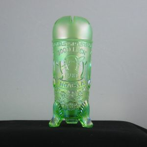 Fenton for HOACGA Ice Green Good Luck Carnival Glass Hatpin Holder