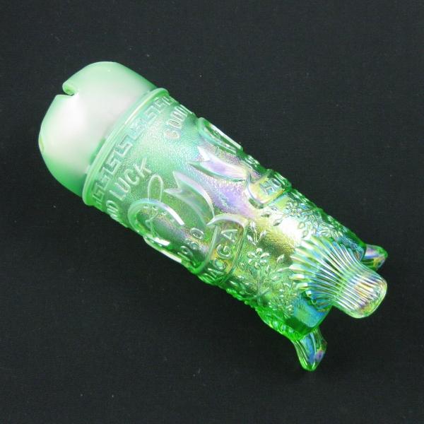 Fenton for HOACGA Ice Green Good Luck Carnival Glass Hatpin Holder