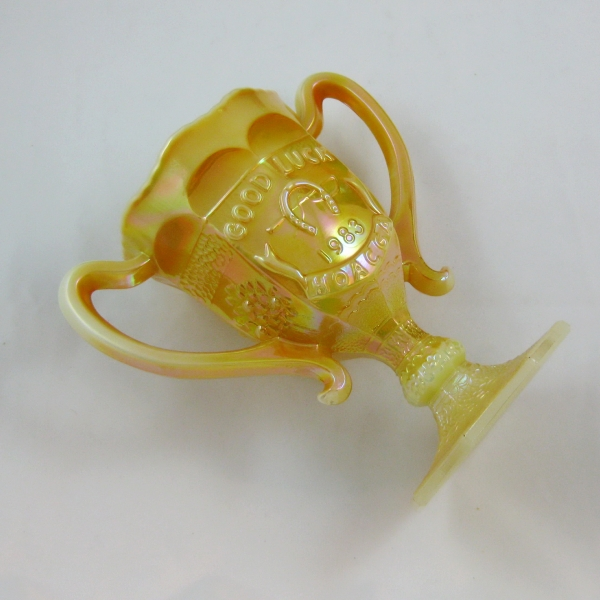 Fenton for HOACGA Marigold on Custard Good Luck Carnival Glass Loving Cup
