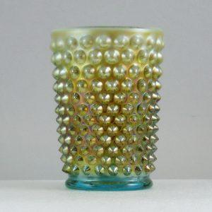 Fenton for Levay Aqua Opal #3908 BO Hobnail Carnival Glass Tumbler