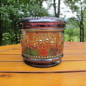 Antique Fenton Amethyst Orange Tree Carnival Glass Powder Jar