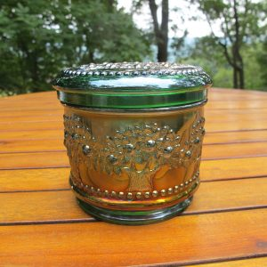 Antique Fenton Green Orange Tree Carnival Glass Powder Jar