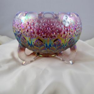 Fenton Plum Opalescent Opal Fenton's Flowers Carnival Glass Rose Bowl
