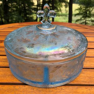 Antique Fostoria Ice Blue Brocaded Acorns Carnival Glass Divided Dish