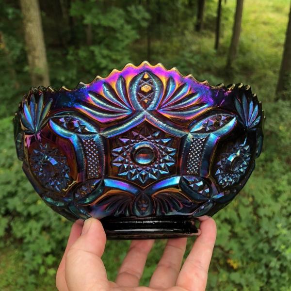 Antique Imperial Electric Purple Blaze Carnival Glass Bowl