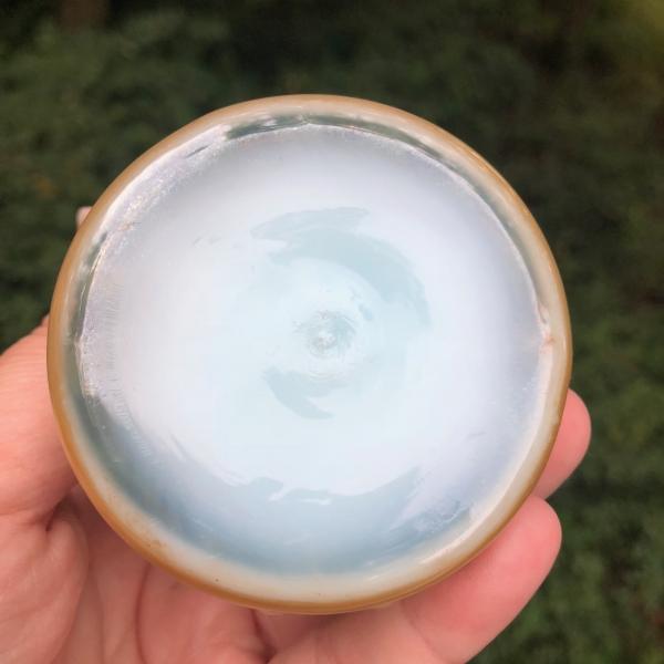 Fenton for Levay Aqua Opal #3869 Hobnail Carnival Glass Cruet