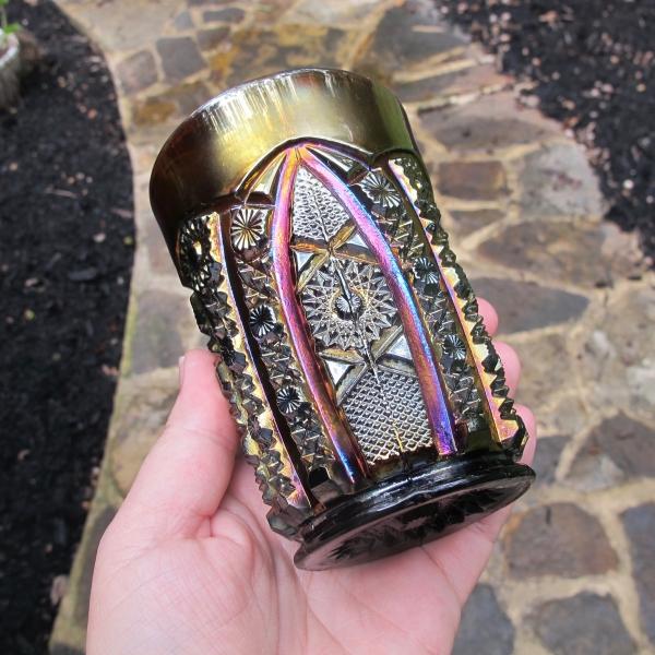 Antique Imperial Purple Octagon Carnival Glass Tumbler