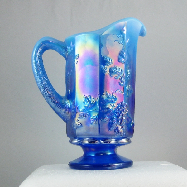 Westmoreland for Levay Aurora Blue Opal Paneled Grape Opalescent Glass Water Set