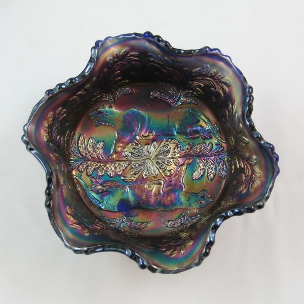 Antique Fenton Blue Panther Carnival Glass Small Bowl