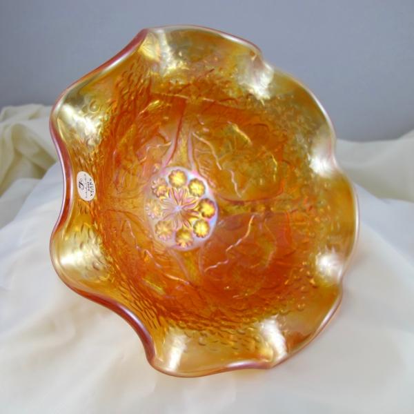 Fenton Marigold Lions Fenton's Flowers Carnival Glass Ruffled Bowl