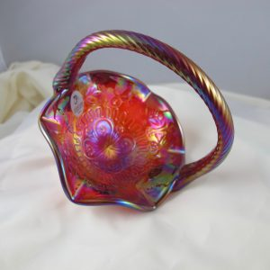 Fenton Red Dragon & Lotus Carnival Glass Mini-Basket