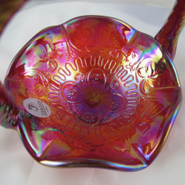 Fenton Red Dragon & Lotus Carnival Glass Mini-Basket