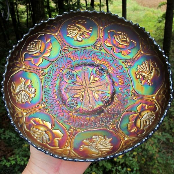 Antique Fenton Blue Dragon & Lotus Carnival Glass ICS Bowl