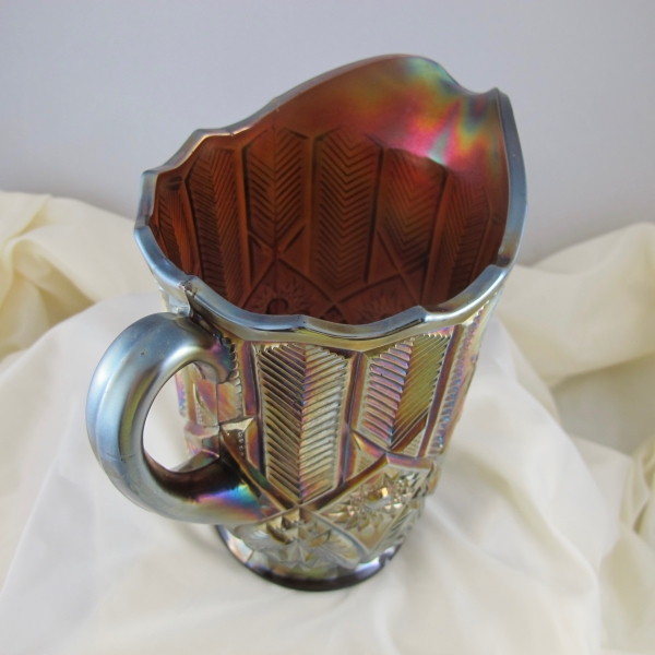Antique Millersburg Amethyst Feather & Heart Carnival Glass Water Pitcher