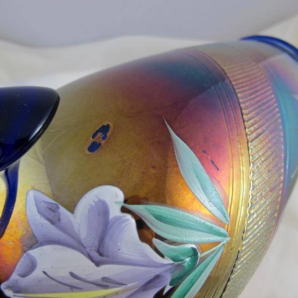 Antique Fenton Blue Enameled Iris Carnival Glass Water Set