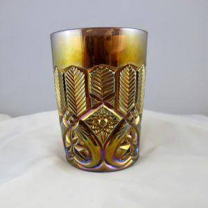 Antique Millersburg Amethyst Feather & Heart Carnival Glass Tumbler